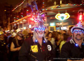 Hundred of marchers make their way down Frenchmen Street as the satirical Krewe du Vieux hits the street on Saturday, February 16, 2019. (Photo by Michael DeMocker, NOLA.com | The Times-Picayune)