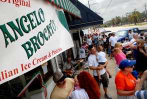 2006: Customers line up as 100-year-old Angelo Brocato reopens Sept. 23, 2006 after sustaining extensive damage from Hurricane Katrina.