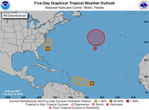 Forecasters on Tuesday (Sept. 25) continued to track several systems in the Atlantic. None of them posed an immediate threat to southeast Louisiana. On the National Hurricane Center's five-day forecast map, the shaded areas show where tropical depressions could form. The shaded areas are not forecast tracks, which are normally issued when the storm strengthens or is about to strengthen to a depression. Here's what we know about the systems as of 10 a.m. Tuesday from the National Hurricane Center.