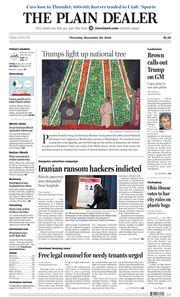 The Plain Dealer's front page for November 29, 2018