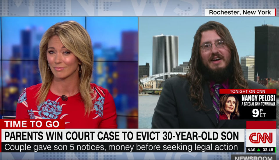 30 Year Old Man Evicted By His Pas Cny Story Hits Cnn Tmz Jimmy Kimmel More