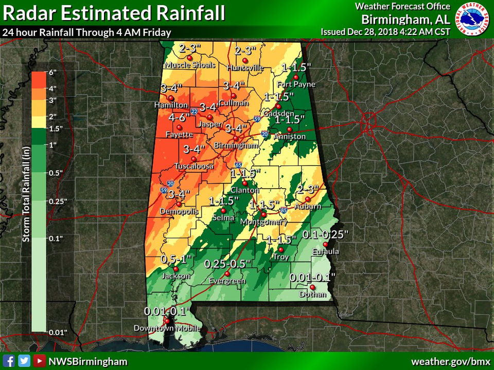 Flooding ongoing across parts of Alabama as rain continues