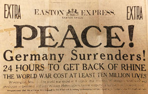 """""""PEACE!"""" The Easton Express declared 100 years ago today. """"GREATEST WAR IN HISTORY ENDS TODAY,"""" was the headline across The Bethlehem Times. """"PEACE COMES TO WORLD AFTER 51 MONTHS OF WAR,"""" The Bethlehem Globe blared across its front page. It was Nov. 11, 1918. At long last, World War I was over. A century ago, this date was marked by celebrations in communities across the nation. The Lehigh Valley was no exception. Sirens blared, bands marched, factories closed, church bells rang. Traffic was choked out by spontaneous parades that drew thousands of people, and the local newspapers churned out extra editions to spread the welcome news. The events of that momentous day are recounted here, pulled directly from the headlines of The Easton Express, Bethlehem Globe and Bethlehem Times, all three of which would eventually form The Express-Times and lehighvalleylive.com. All excerpts below are from Nov. 11, 1918, unless otherwise noted."""