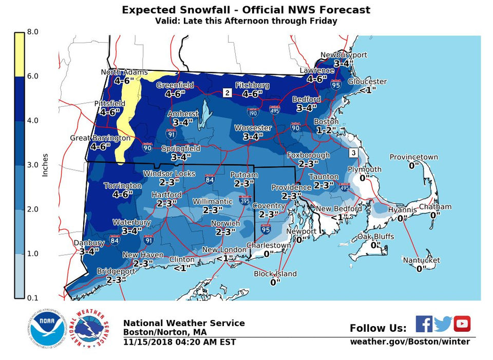 Up to 8 inches of snow expected in Massachusetts as winter storm approaches