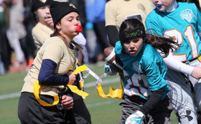 Saints vs. Dolphins in Next Level Youth Flag Football League 5th-6th grade action, held at Tottenville High School Bruce Hansen Memorial Field, in Huguenot. March 17, 2019. (Staten Island Advance/Derek Alvez)