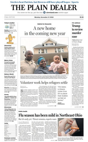 Photos of daily front pages from The Plain Dealer newspaper in Cleveland, Ohio
