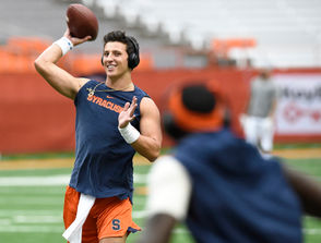 """It seems foolish to start this conversation with anyone other than redshirt freshman quarterback Tommy DeVito. Before he led SU to its victory over Florida State in Week 3, SU hadn't won a game without Dungey under center for the majority of the contest since the 2015 finale. """"I think he's capable of doing whatever,"""" redshirt senior guard Aaron Roberts said after that game. """"We've got two great quarterbacks so if Dungey goes down, which you don't want to happen, DeVito is more than ready."""" DeVito has flashed the arm talent that he's known for in stints early this season while also making a handful of mistakes that Babers said are natural for a first-year player. Still, it's clear he's more ready to step in for Dungey than any options in previous seasons. Dungey, who appears to have mended up from an apparent shoulder injury, has yet to finish a season healthy. In an ideal world, that pattern breaks in 2018. If not, DeVito will be the one asked to step in, potentially with a game plan fit to his arm rather than Dungey's legs."""