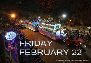 This 27-parade weekend begins with two afternoon celebrations in the French Quarter. Uptown's first parades of the season, Krewes of Oshun and Cleopatra, roll this evening beginning at 6 p.m.In Mandeville, Krewe of Eve rolls at 7 p.m. and Metairie's Krewe of Excalibur rolls at 7:30 p.m. Find maps and more information from NOLA.com | The Times-Picayune's Doug MacCash below.