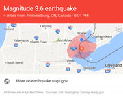 A 3.6 magnitude earthquake was confirmed about 15 miles from Detroit