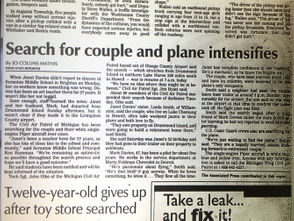 1997 plane crash detailed in newspaper clippings.