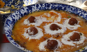 For the pop up, Robin, originally from Lahore, Pakistan, served a dessert made with custard, apricot and pistachio.