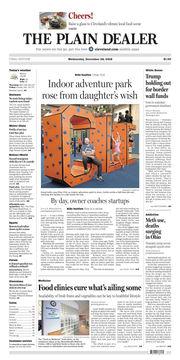 The Plain Dealer's front page for December 26, 2018