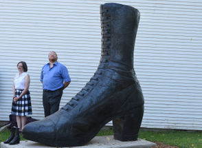 """Photos of the """"Size 236"""" shoe sculpture and the shoes that inspired it."""