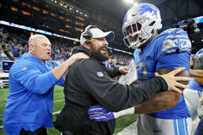 Detroit Lions coach Matt Patricia celebrates with Detroit Lions defensive lineman Da'shawn Hand (93) after the Lions defeated the New England Patriots, 26-10, in their NFL game at Ford Field in Detroit on Sunday, September 23, 2018. (Mike Mulholland | MLive.com)