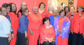 Diana E. Bajoie, seated, with her Delta Sigma Theta Sorority sisters.