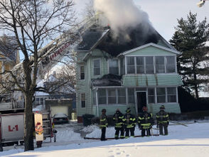 Fire heavily damaged a home on Wolcott Street