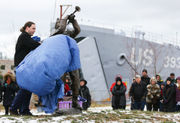 Muskegon's Boogie Woogie Bugle Boy honored with sculpture