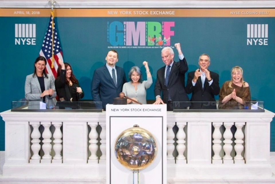 Global Medical Relief Fund founder rings closing bell at Stock Exchange