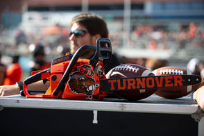 """Beavers fans love love love a good chainsaw. A chainsaw sound is played long and loud before third downs at Reser, and now, there is something called the """"turnover chainsaw."""" I get it -- both beavers and chainsaws cut down trees. But, hear me out. Clear-cut logging might not be the best thing for actual beavers or for forest health and if OSU wanted to really celebrate the Northwest and its own place educating Northwesterners, maybe play the soft sounds of wind rustling the needles of a Douglas fir, or the cry of an eagle, or have the cheerleaders do an interpretive dance based on beavers building a dam. If you really want to represent Corvallis, make it moo sounds and fill the stadium with the scent of fresh manure after it rains."""