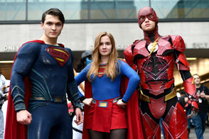 Cosplayers pose for a photo during New York Comic Con at Jacob Javits Center on October 6, 2018 in New York City. Superheroes are among this year's most popular Halloween costumes.