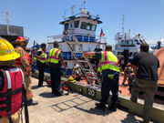 Tugboat catches fire in Mississippi River near Poland Avenue Wharf