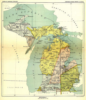 A map from the Eighteenth Annual Report of the Bureau of American Ethnology to the Secretary of the Smithsonian Institution, 1896-1897. The area shaded yellow represents the land ceded to the U.S. government by the Odawa and the Sault Ste. Marie Ojibwe/Chippewa: 14 million acres in total. Image via Wikimedia Commons