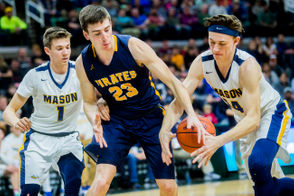 Pewamo-Westphalia's Aaron Bearss, center, fights for possession of a rebound with Erie-Mason's Bryan Sweeney during the first half of the Division 3 boys basketball state semifinal on Thursday, Marc 14, 2019 at Michigan State University's Breslin Center in East Lansing. (Jake May | MLive.com)