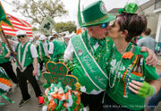 Irish Channel parade flows slowly down Magazine on St. Patrick's Day