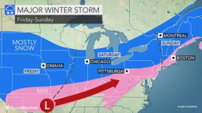 The storm is expected to move into Pennsylvania from the Midwest, according to AccuWeather. Snow is expected to begin falling sometime on Saturday afternoon and persist into Saturday evening.