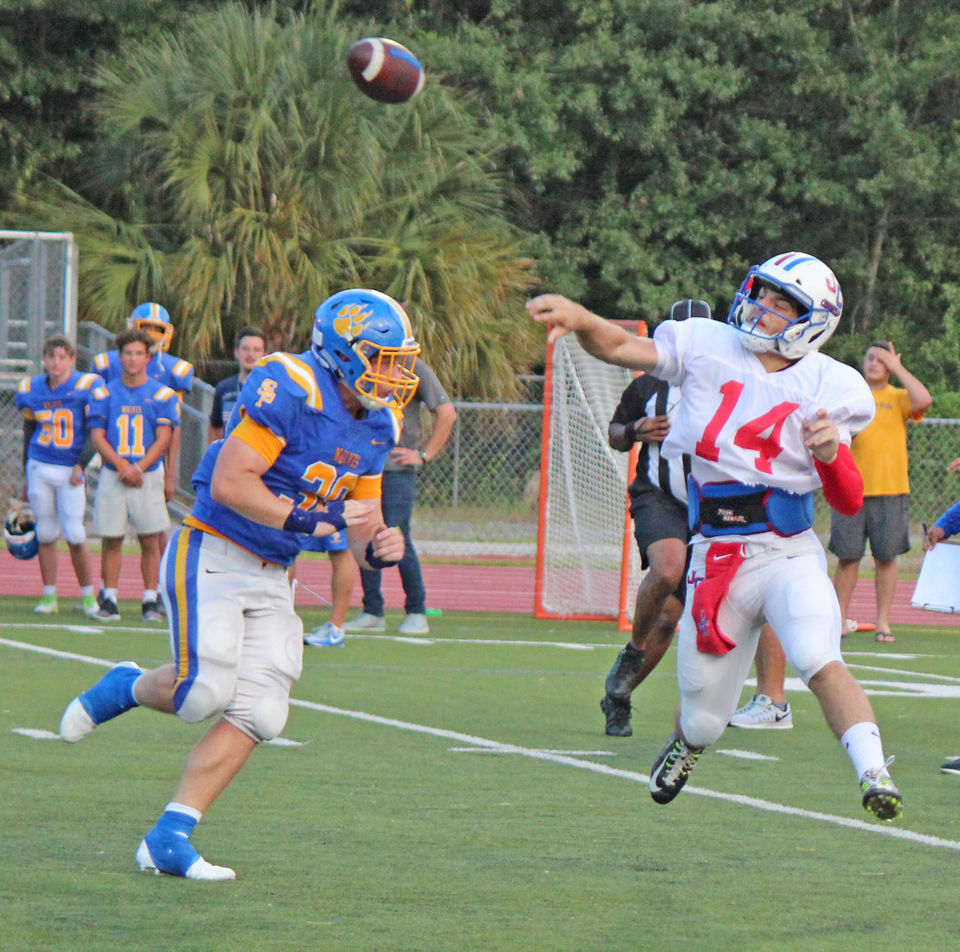 St. Paul's hosted John Curtis at Hunter Stadium in Covington for a scrimmage on Wednesday, August 15, 2018.