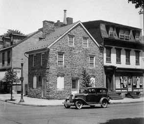 The Parsons-Taylor House, shown here in the 1930s, still stands today at South Fourth and Ferry streets in Easton.