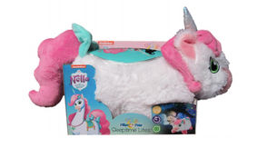 """W.A.T.C.H. warning: """"These soft, plush Pillow Pets Sleeptime Lites project colorful night sky images to make 'night-time fun.' Marketed for infants as a nightlight for baby's room, remarkably the package cautions that the product is 'not intended' for use in a crib. Nella is adorned with small, felt-like flower and heart-tag accessories which, if removed, present potential ingestion hazards. Additionally, the manufacturer identifies a 'battery acid leakage' hazard."""""""