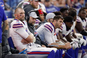 Buffalo Bills quarterback Derek Anderson (3) sits on the bench in the closing minutes of an NFL football game against the Indianapolis Colts in Indianapolis, Sunday, Oct. 21, 2018 with offensive coordinator Brian Daboll.
