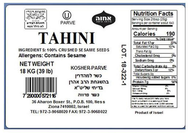 Hummus concern: See labels for 6 brands of Israeli tahini recalled