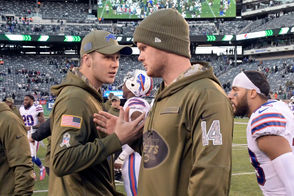 """Orchard Park, N.Y. -- Buffalo Bills quarterback Matt Barkley exceeded all expectations Sunday with his 200-plus yard, two touchdown performance against the New York Jets. But the Bills are still rookie Josh Allen's team. """"Josh is our starter when healthy and his development is important for him and for us as we move forward, getting experience,"""" Bills coach Sean McDermott said Monday after Buffalo's 41-10 win against the Jets. """"You've seen a lot of quarterbacks this season play and it's important that he gets as many reps as he can get in live game action."""" After Nathan Peterman won the starting job to start the season the belief was the Allen needed time to sit, watch and develop from the sidelines. But after Peterman struggled against Baltimore in the opener, he was pulled from the game and Allen was forced to play. McDermott kept Allen as the starter and he had an up-and-down stretch of five starts before suffering a sprained elbow against Houston in Week 6. Veteran Derek Anderson was named the starter for the next two games before he suffered a concussion and then Peterman started again in Week 9 versus the Bears. That game didn't go well for Peterman, either. He threw three more interceptions. He's thrown seven picks in three games and he only finished one of them."""