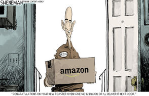 The week in cartoons: Amazon chooses NY and D.C.; fire leaves devastation in California; U.S. troops deploy to border.