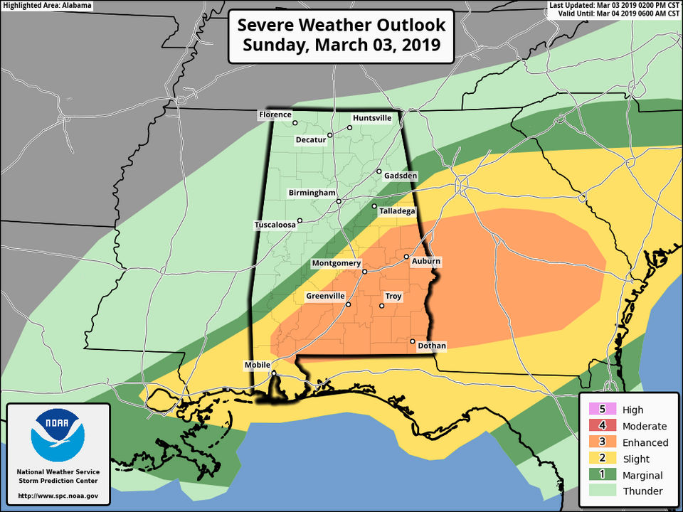 Update: Enhanced risk of severe weather for part of Alabama today ...