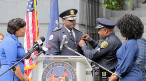 With his right hand raised and his left on the Bible, Ferguson repeated an oath, led by Cantrell, to become NOPD's new chief. Melvin Ferguson, Shaun Ferguson's cousin and an officer with the Houston Police Department, pinned the new chief.