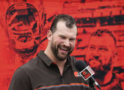 Joe Thomas uses laughter to fight off the tears in his retirement press conference