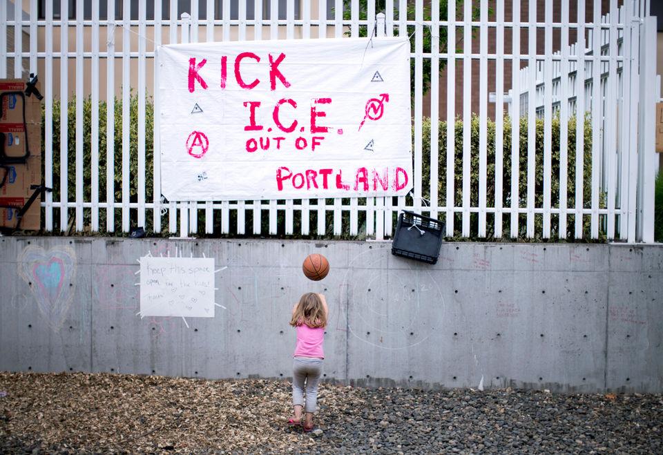 Day 6 of the occupation by protesters surrounding the U.S. Immigration and Customs Enforcement field office in Southwest Portland. June 22, 2018