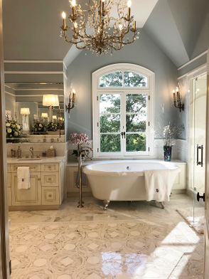 The spacious master bathroom of Montville home gets a luxurious spa-style update.