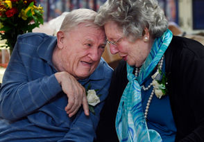 Charlie and Joanie Allard celebrate their 70th wedding anniversary at the Soldiers Home in Holyoke.