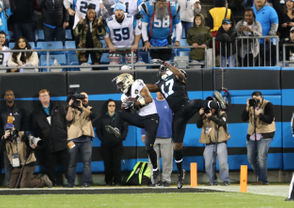 Eli Apple is coming on. He enjoyed a second consecutive strong game with an interception and two passes defensed. The third-year cornerback from Ohio State made the biggest defensive play of the game when he picked off Cam Newton in the end zone in the final seconds of the first half. He displayed textbook coverage technique, finding Devin Funchess with his hand while turning for the ball just as it arrived. The interception was Apple's second as a Saint and thwarted a prime Carolina scoring opportunity.