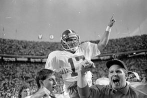 Alabama was a wounded team when it headed to Knoxville on Oct. 20, 1990, having suffered numerous injuries to key offensive players and sporting a 2-3 record. Tennessee was 4-0-2 and ranked No. 3 in the country. Alabama somehow pulled off a 9-6 stunner, with Stacy Harrison blocking a last-minute field goal attempt by the Volunteers. The ball rolled far enough to set up a 48-yard field goal try by Philip Doyle, who nailed the kick and gave Gene Stallings' Crimson Tide one of the unlikeliest wins in the series.