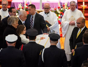 Worcester Firefighter Christopher Roy, killed battling a five-alarm house fire, was laid to rest Saturday.