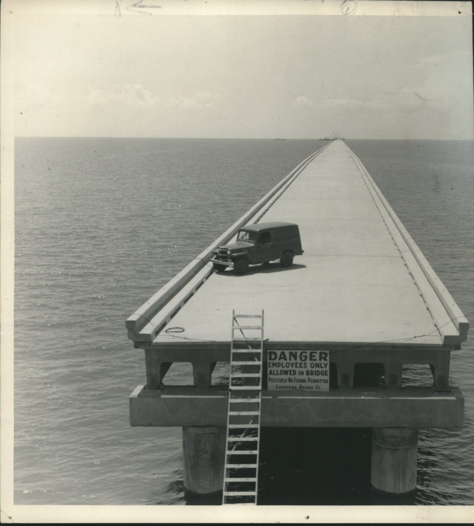 1955: The Lake Pontchartrain Causeway -- for all intents and purposes, the official road to Mandeville -- in progress.