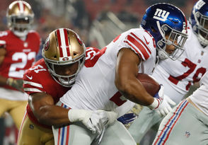 """The lack of four-yard gains on Barkley's resume is one of the reasons the Giants consistently wind up in second- or third-and-long. On the other hand, Barkley seems like a better fit for the Giants than a grinding cloud-of-dust back because it is unlikely this offensive line consistently could block holes for that runner. Barkley's ability to make something out of nothing is important for an offense ranked No. 26 in points per game. He says he is not overly thinking about taking every carry to the end zone. """"It is tempting, but the way I've been trying to play is take what the defense gives you,"""" Barkley said. """"When you get a chance, try to make them pay for it. I just got to continue to trust the system, trust the team, trust the offensive line and trust myself."""""""