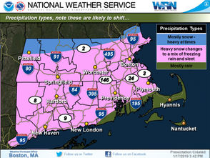 Communities near the Vermont and New Hampshire state lines will see higher snowfall due to the storm tracking north. For much of Massachusetts, heavy snowfall will shift to a wintery mix of freezing rain and sleet by Sunday morning, rain for the Cape and Islands.
