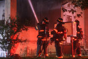 Porch roof of vacant former funeral home catches fire