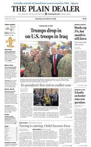 The Plain Dealer's front page for December 27, 2018